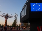 EU Pavilion at night in front of the tree of life